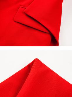 Red Slim Asymmetric Hem Blazer