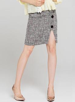 Chic Split Buttoned Mini Skirt