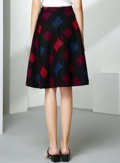 Vintage Color-blocked Big Hem Skirt
