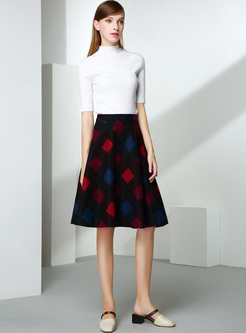 Vintage Color-blocked Big Hem Skirt