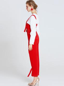 Red High Waist Slim Overalls