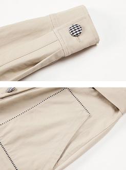 Khaki Lapel Single-breasted Jumpsuits