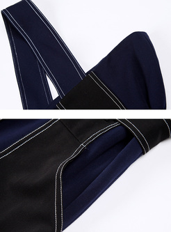 Navy Blue High Waist Slim Jumpsuits