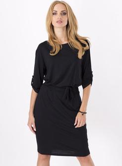 Brief O-neck Waist Bodycon Dress