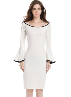 White O-neck Flare Sleeve Bodycon Dress
