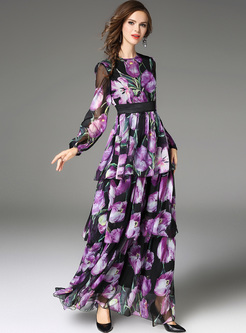 Elegant Purple Print Lantern Sleeve Maxi Dress