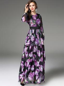 Elegant Purple Print Lantern Sleeve Maxi Dress
