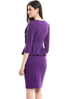 Work Buttoned Falbala Bodycon Dress