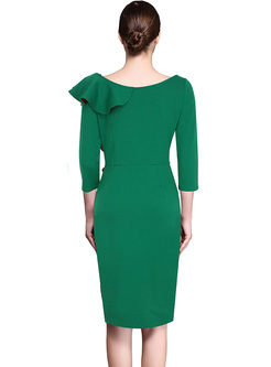 Green Asymmetric Falbala Bodycon Dress