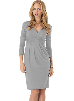 Sexy Waist V-neck Bodycon Dress