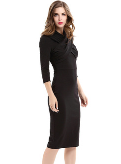 Black Stand Collar Slim Bodycon Dress