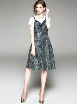 White Short Sleeve T-shirt & Velvet Print A-line Dress
