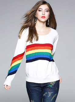 Rainbow Striped O-neck Knitted Sweater