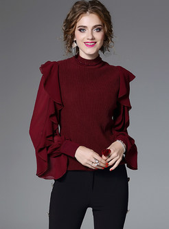 Court Splicing Falbala Wool Knitted Sweater