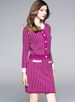 Striped Hit Color Knitted Two-piece Outfits