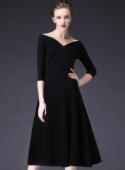 Black V Neck High Waist A Line Dress