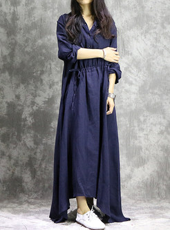 Vintage Asymmetric Hem Maxi Dress
