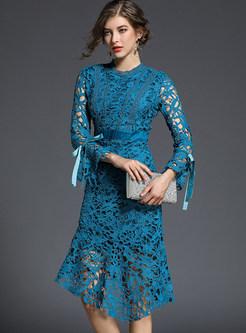 Elegant Hollow Out Flare Sleeve Asymmetric A-line Dress