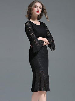 Elegant Lace Flare Sleeve Slim Mermaid Dress