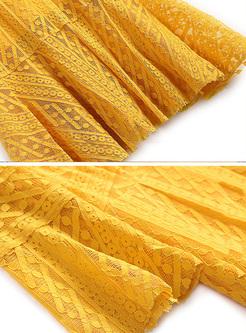 Yellow Lace Flare Sleeve Slim Mermaid Dress