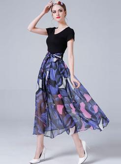 Street Print High Waist A-line Maxi Dress