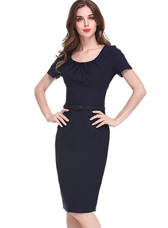 Navy Blue Work Belted Bodycon Dress