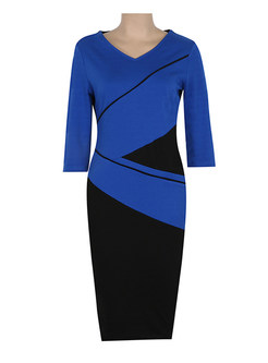 Stitching Contrast Color V-neck Bodycon Dress