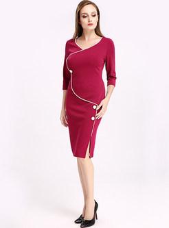 Brief V-neck Three Quarters Sleeve Bodycon Dress