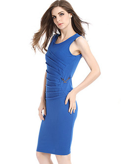 Stylish Sleeveless Cotton Bodycon Dress