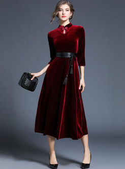 Wine Red Pleuche Belted Skater Dress