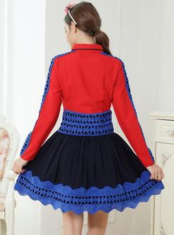 Chic Color-blocked Lace Lapel A-line Dress