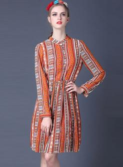 Ethnic Floral Print A-line Dress