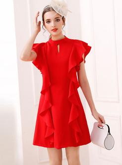 Red Elegant Falbala Sleeveless Shift Dress