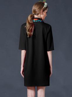 Brief Tied Lapel Half Sleeve Shift Dress