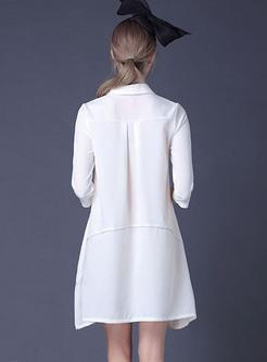 Chic Lapel Asymmetric Print Shift Dress