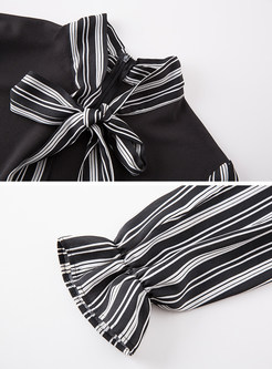 Striped Splicing Falbala Long Sleeve Shift Dress