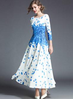 Blue Elegant Print Gathered Waist Maxi Dress