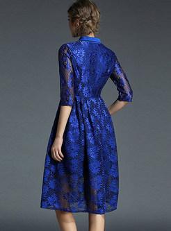 Sequins Lace High Waist Embroidered Skater Dress