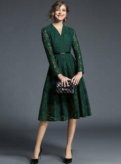 Green V-neck Belted Embroidered Skater Dress