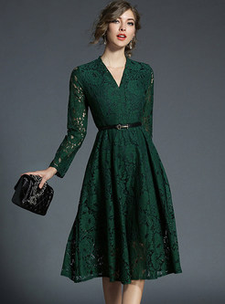 Green V-neck Belted Embroidered Skater Dress