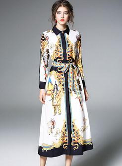 Chiffon Print Turn Down Collar Skater Dress