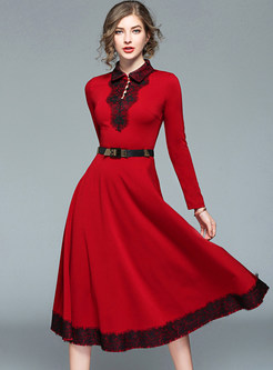 Red Lace Stitching Belted Skater Dress