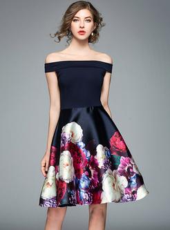 Off Shoulder Patchwork Print Skater Dress