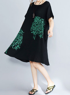 Black Print Short Sleeve Shift Dress
