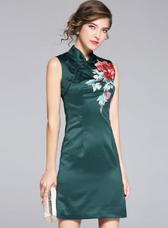 Ethnic Embroidered Sleeveless Cheongsam A-line Dress