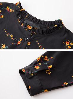 Floral Print Gathered Waist Tied Skater Dress
