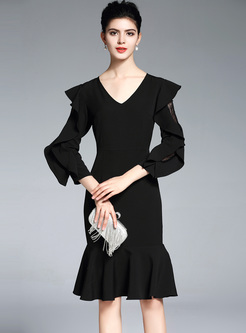 Black V-neck Lantern Sleeve Mermaid Dress