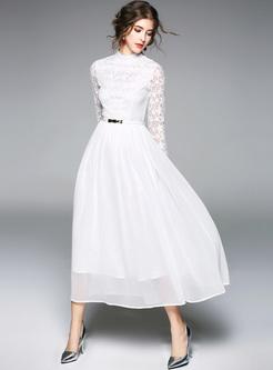 White Elegant Lace Hollow Maxi Dress