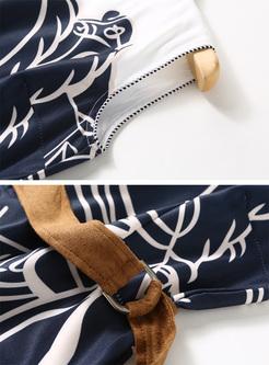 Elegant Color-blocked Sleeveless Print Maxi Dress
