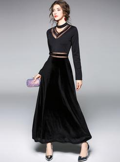 Black Mesh Perspective Slim Maxi Dress